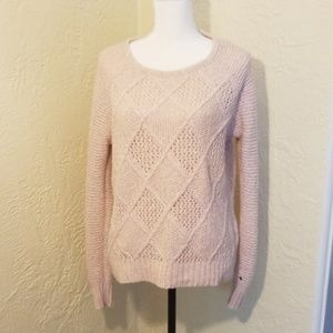 4/$20! AEO pale pink cable knit crewneck sweater